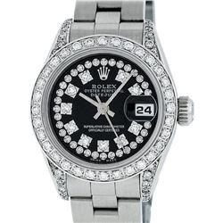 Rolex Ladies Stainless Steel Diamond Lugs Oyster Quickset Datejust Wristwatch