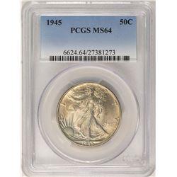 1945 Walking Liberty Half Dollar Coin PCGS MS64