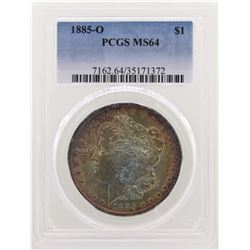 1885-O $1 Morgan Silver Dollar Coin PCGS MS64 Amazing Toning