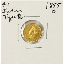 1855-O Type 2 $1 Indian Head Gold Dollar Coin