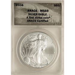 2008 $1 American Silver Eagle Coin ANACS MS69 First Strike