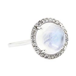 14KT White Gold 4.82 ctw Moonstone and Diamond Ring