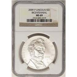 2009-P $1 Lincoln Bicentennial Commemorative Silver Coin NGC MS69