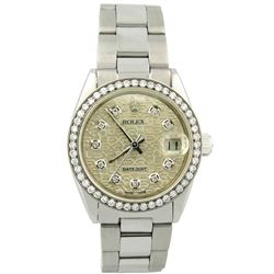 Rolex Ladies Datejust Stainless Steel 31mm Silver Jubilee Diamond Dial Watch