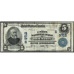1902 $5 Union NB of Houston, TX CH# 9712 National Currency Note