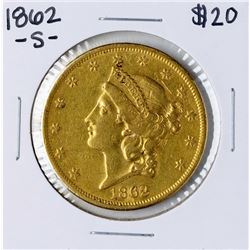 1862-S $20 Liberty Head Double Eagle Gold Coin