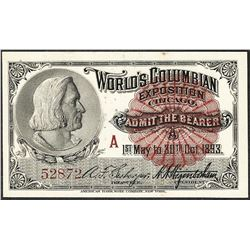 1893 World's Columbian Exposition Ticket Columbus