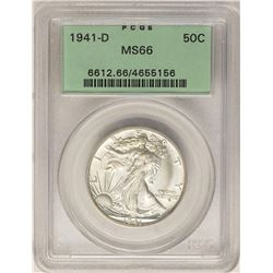 1941-D Walking Liberty Half Dollar Coin PCGS MS66 Old Green Holder