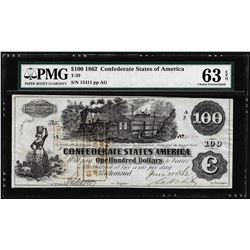 1862 $100 Confederate State of America Note T-39 PMG Choice Uncirculated 63EPQ