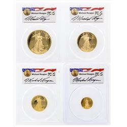 Set of (4) 2006-W 20th Anniversary American Gold Eagle Coins Reagan PCGS PR69DCA