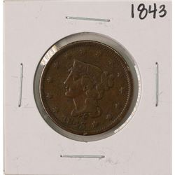 1843 Braided Hair Large Cent Coin
