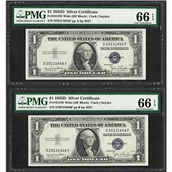 Lot of (2) Consecutive 1935D $1 Silver Certificate Notes PMG Gem Uncirculated 66