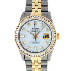 Rolex Mens Two Tone 14K MOP Diamond Datejust Wristwatch With Rolex Box