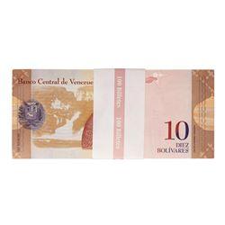 Pack of (100) Uncirculated 2013 Republic of Venezuela 10 Bolivares Bank Notes