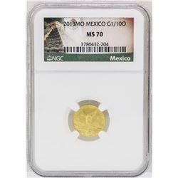 2013MO Mexico 1/10 oz. Mexico Libertad Gold Coin NGC MS70