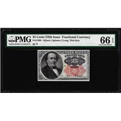 1874 25 Cents Fifth Issue Fractional Currency Note Fr.1309 PMG Gem Uncirculated