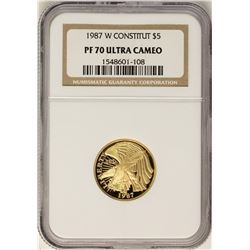 1987-W $5 Proof Constitution Commemorative Gold Coin NGC PF70 Ultra Cameo