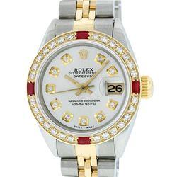 Rolex Ladies Two Tone 14K Silver Diamond & Ruby Datejust Wristwatch