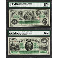 Matching Low Serial 1872 $20 & $50 South Carolina Obsolete Notes PMG Gem Unc. 65