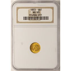 1853 $1 Liberty Head Gold Dollar Coin NGC MS63
