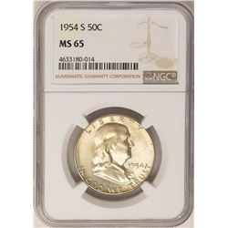 1954-S Franklin Half Dollar Coin NGC MS65
