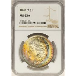 1890-O $1 Morgan Silver Dollar Coin NGC MS63 STAR Amazing Rainbow Toning