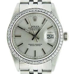 Rolex Men's Stainless Steel Silver Diamond 36MM Datejust Wristwatch