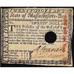 1780 Massachusetts-Bay $20 Colonial Currency Note Signed by Loammi Baldwin