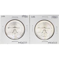 Lot of (2) Brilliant Uncirculated 1980 Mexico Una Onza Casas De Moneda Silver Co