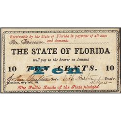 1868 State of Florida Ten Cents Obsolete Note