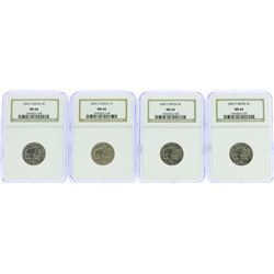 Lot of (4) 2005 Bison Nickel Coins NGC MS64