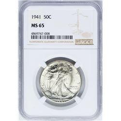 1941 Walking Liberty Half Dollar Coin NGC MS65
