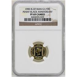 1990 Isle of Man Penny Black Anniversary 1/10 oz. Gold Coin NGC PF69 Cameo