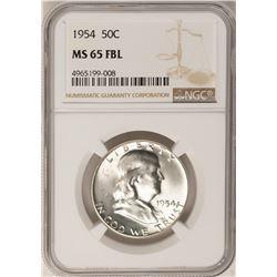 1954 Franklin Half Dollar Coin NGC MS65FBL