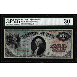 1869 $1 Rainbow Legal Tender Note Fr.18 PMG Very Fine 30