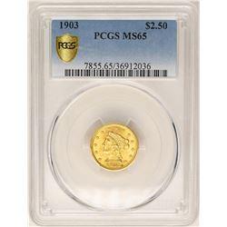 1903 $2 1/2 Liberty Head Quarter Eagle Gold Coin PCGS MS65