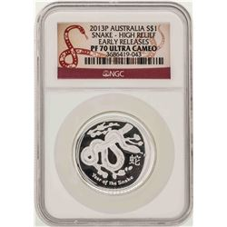 2013P Australia $1 Snake High Relief Coin NGC PF70 Ultra Cameo
