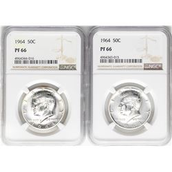 Lot of (2) 1964 Franklin Half Dollar Coins NGC PF66