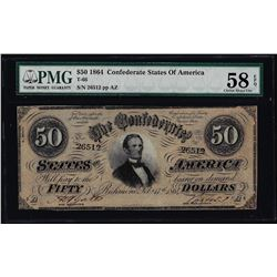 1864 $50 Confederate States of America Note T-66 PMG Choice About Unc. 58EPQ