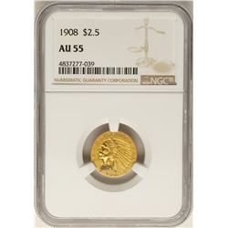 1908 $2 1/2 Indian Head Quarter Eagle Gold Coin AU55