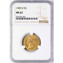1909-D $5 Indian Head Half Eagle Gold Coin NGC MS62