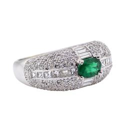 18KT White Gold 0.67 ctw Emerald and Diamond Ring