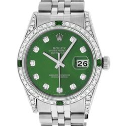 Rolex Mens Stainless Steel Green Diamond & Emerald Datejust Wristwatch