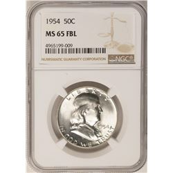 1954 Franklin Half Dollar Coin NGC MS65FBL