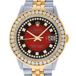 Rolex Mens Two Tone Red Vignette VS 3 ctw Channel Set Diamond Datejust Wristwatc