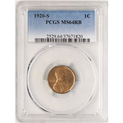 1920-S Lincoln Wheat Cent Coin PCGS MS64RB