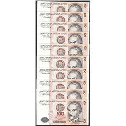 Lot of (10) 1987 Peru Cien Intis Uncirculated Bank Notes