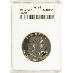 1954 Proof Franklin Half Dollar Coin ANACS PF65