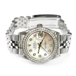 Rolex Ladies Datejust Stainless Steel 31mm Mother of Pearl Diamond Dial Watch