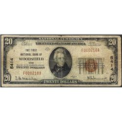 1929 $20 First NB of Woodsfield, OH CH# 5414 National Currency Note